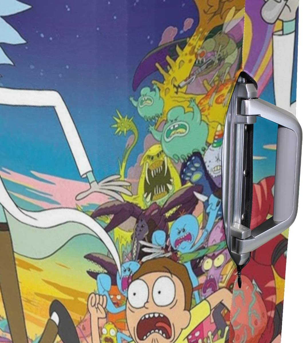 Beautiful Rick With Morty Cartoon Travel Luggage Cover Suitcase Protector Fits 26-28 Inch Washable Baggage Covers