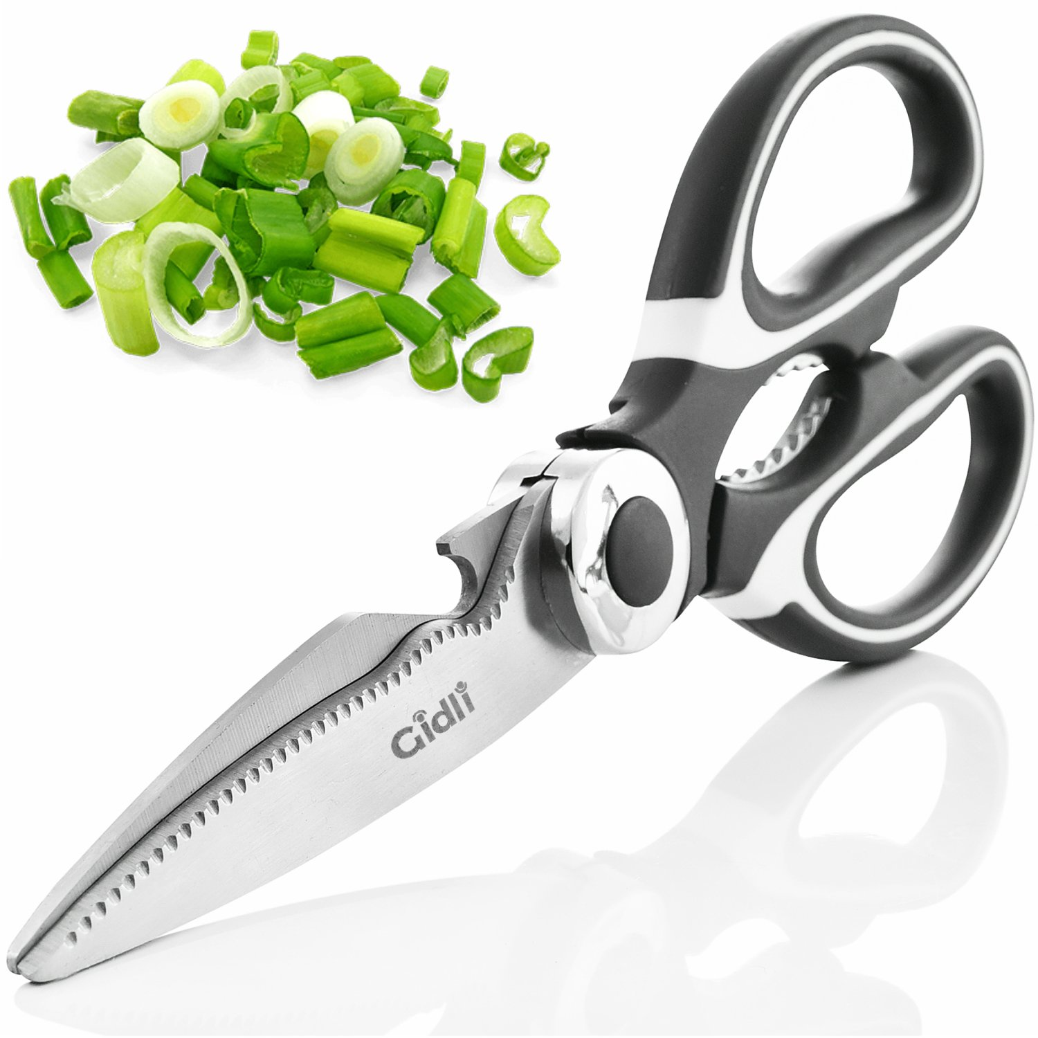 Kitchen Shears by Gidli - Lifetime Replacement Warranty- Includes Seafood Scissors As a Bonus - Heavy Duty Stainless Steel Multipurpose Ultra Sharp Utility Scissors. by Gidli (Image #2)