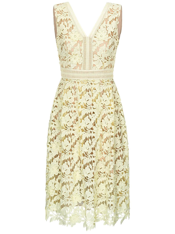 FOURFLAVOR Spitzenkleid Lilian Sommerkleid Hochzeit Gäste Kleid Romantisch Feminin Spitze V-ausschnitt Knielang ärmellos Feierliche Anlässe Tailliert 100% Polyester