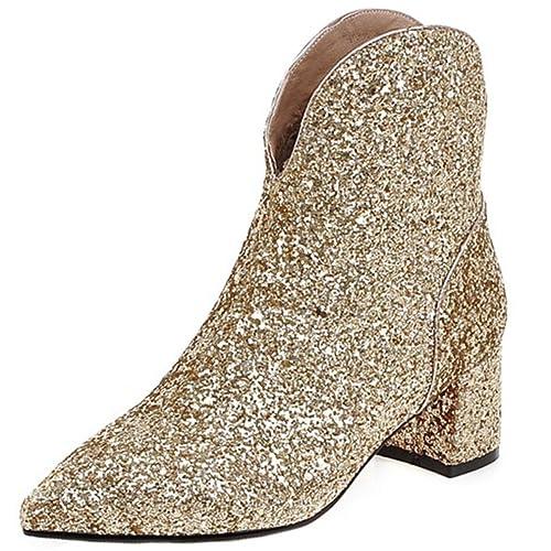 ENMAYER Womens Glitter Materiale Scarpe quadrato Tacchi alti Stivaletto  Zipper D'oro 39EU