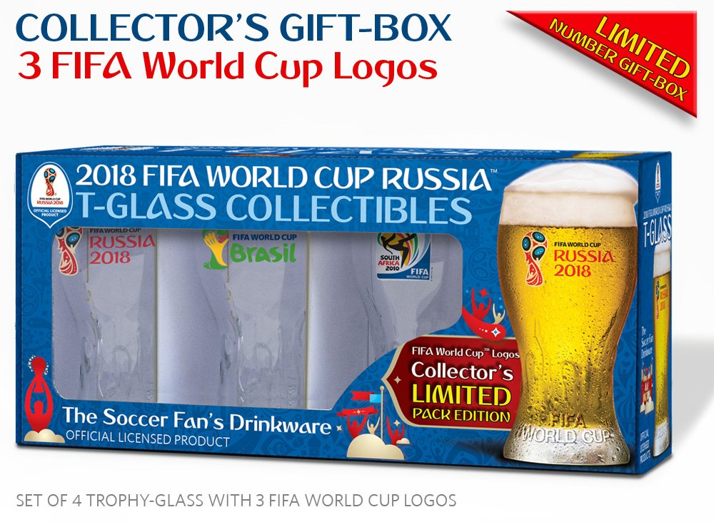 Collectible of 4 FIFA World Cup Trophy-glass / Set of 4 with 3 FWC logos: Russia 2018 (2), Brazil 2014 and South Africa 2010 851021005334