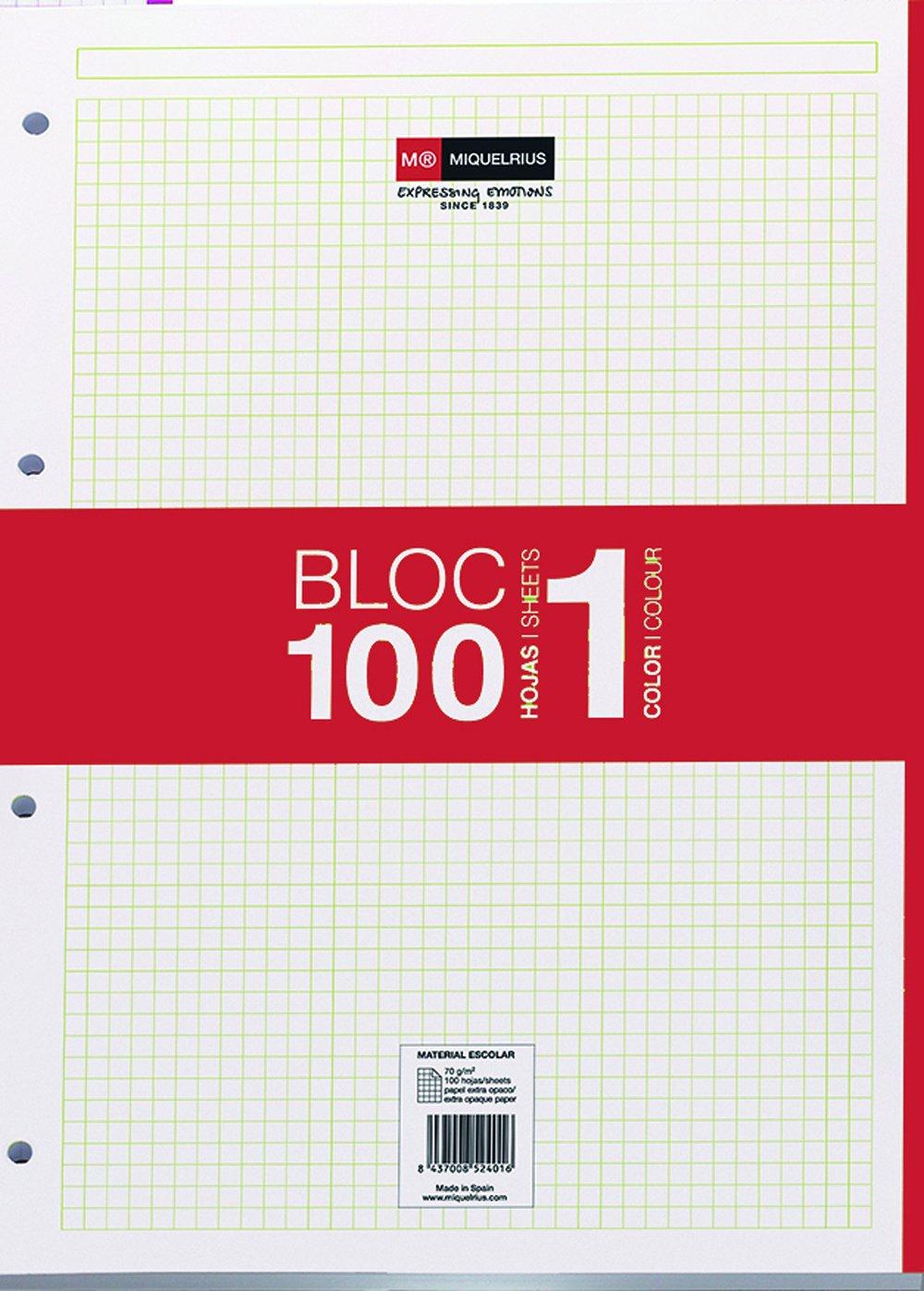 Miquelrius - Recambio hojas A4, 100 hojas, cuadrícula 5 mm, 4 taladros, color rojo Miquel Rius 7422