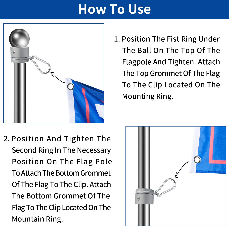Hotop 4 Anillos de Asta de Bandera Anillos de Montaje de Aleaci/ón de Aluminio Asta de Bandera Giratoria de 360 Grados Asta de Bandera Anti Envoltura con Gancho de Clip para 1 Pulgadas Di/ámetro