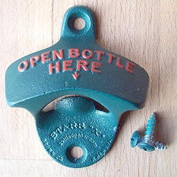 BIER WANDFLASCHENÖFFNER WAND Kapselheber FLASCHENÖFFNER   Open Bottle Here blau