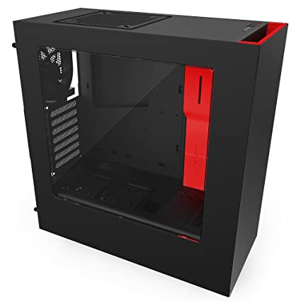 NZXT S340 Mid Tower Case CA-S340MB-GR Matte Black/Red