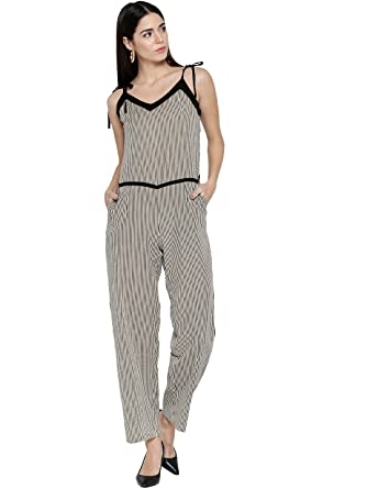 7119073bf5e Amazon.com  Jaipur Kurti Women Striped Pattern Jumpsuit (Beige)  Clothing