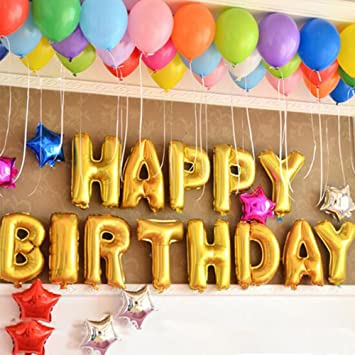 Amazoncom Happy Birthday Balloons Banner Foil Balloons Letters