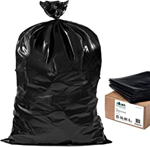 """Plasticplace Contractor Trash Bags 55-60 Gallon │ 6.0 Mil │ Black Heavy Duty Garbage Bag │ 36"""" x 58"""" (25 Count)"""