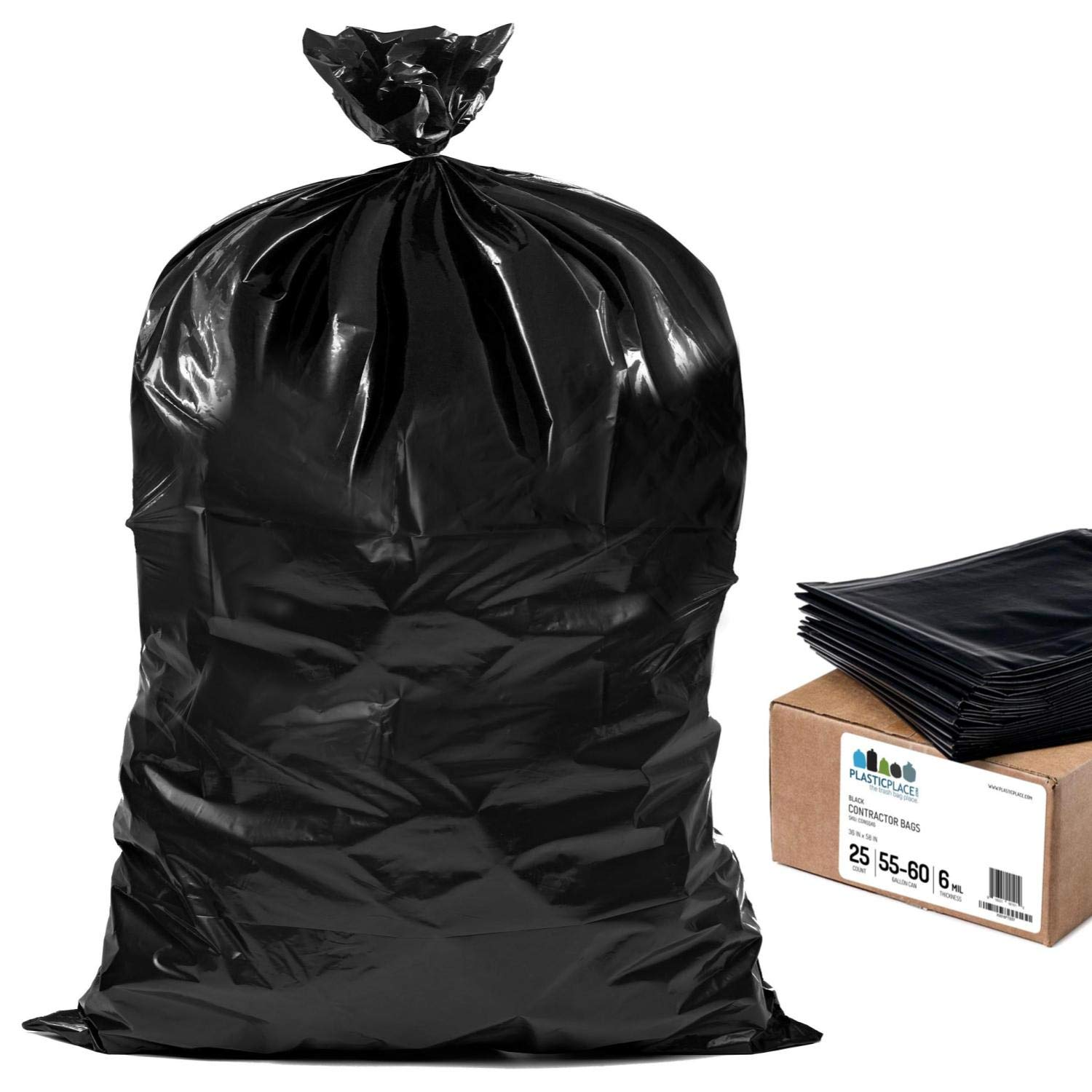 Plasticplace Contractor Trash Bags 55-60 Gallon │ 6.0 Mil │ Black Heavy Duty Garbage Bag │ 36'' x 58'' (25 Count) by Plasticplace