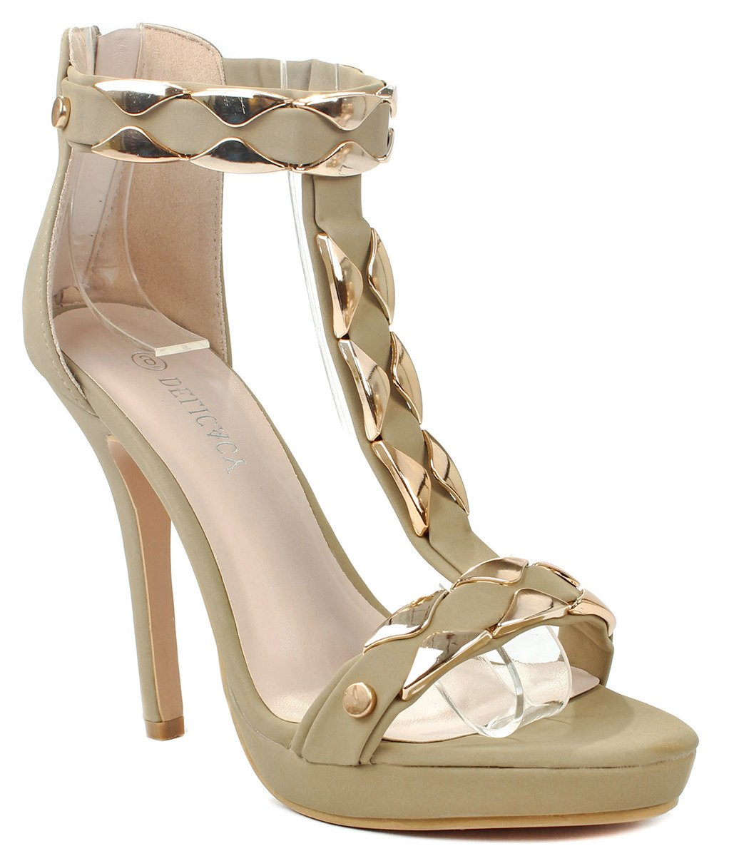 Fantastic34 Gold Plating T-Strap Ankle Cuff Platform High Heel Dress Sandal Shoes B00WFHOGDS 5.5 B(M) US|Taupe Nub