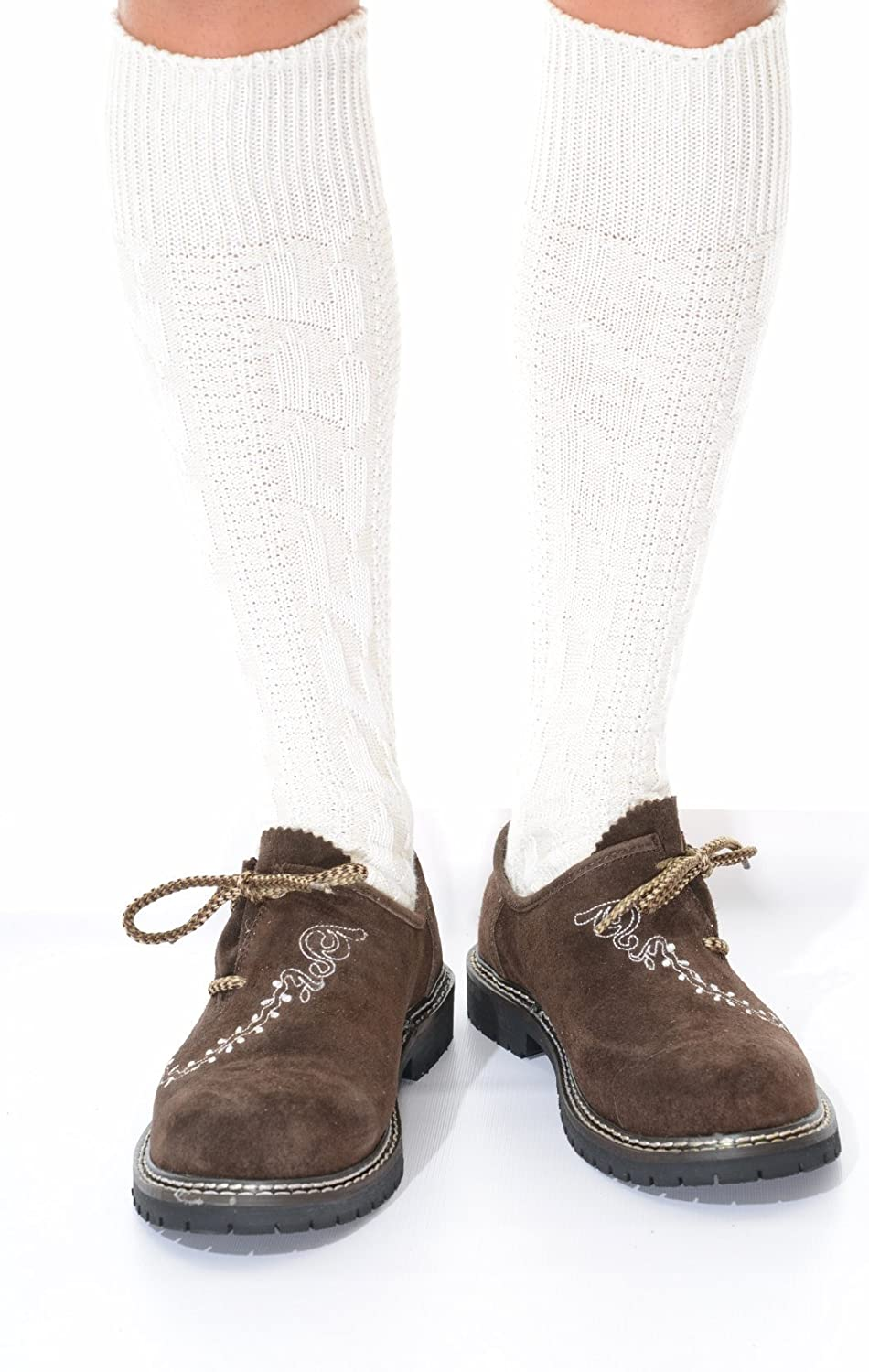 Long German Lederhosen Socks in cream: Clothing