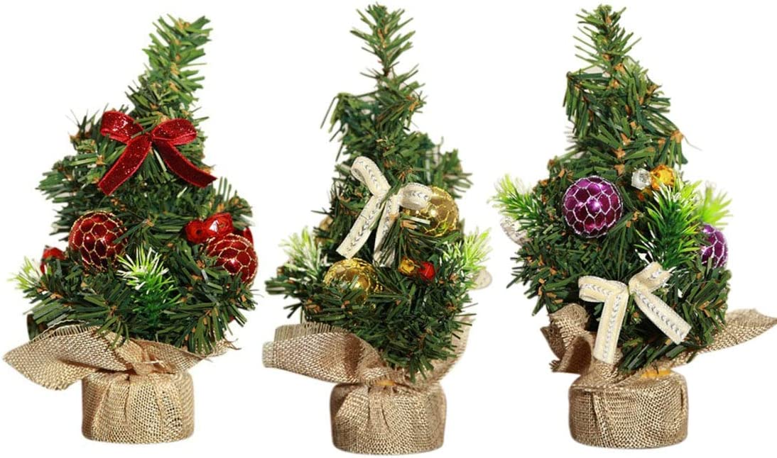 SUNREEK 3 Pieces Mini Artificial Christmas Tree with Ornaments - Perfect Christmas Decoration for Table and Desk Tops, Small 8inch/20cm Tall Christmas Pine Tree for Your Home or Office