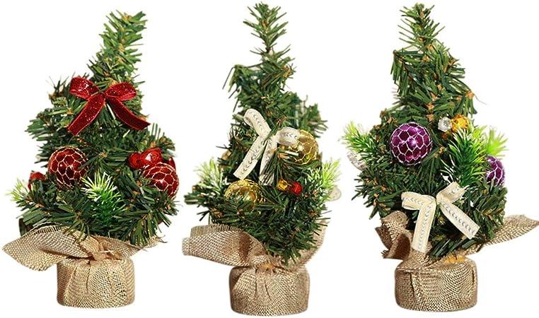XONOR Árbol de Navidad Artificial de 3 Piezas de 20 cm de Altura con Adornos - Árbol de Pino de Navidad hogar, Oficina, Mesa y Escritorio: Amazon.es: Hogar