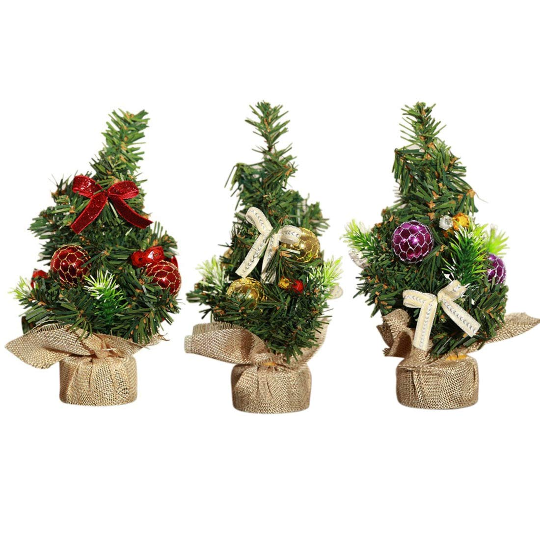 Superb Sunreek 3 Pieces Mini Artificial Christmas Tree With Ornaments Perfect Christmas Decoration For Table And Desk Tops Small 8Inch 20Cm Tall Christmas Home Interior And Landscaping Ologienasavecom