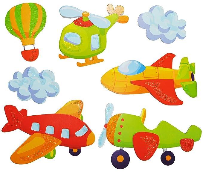 Flugzeug /& Helikopter Wolken 7 tlg Set: Fensterbild // Wandtattoo Fahrzeug
