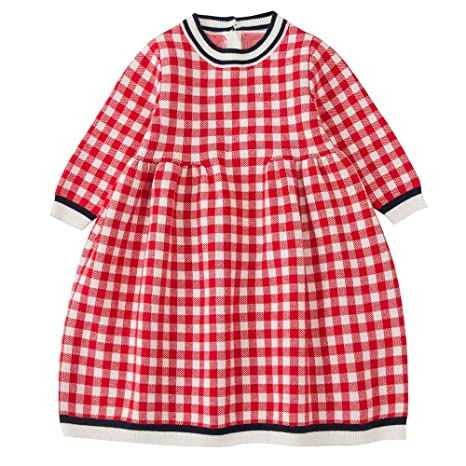 fff695b3 Fineser Baby Girl Clothes Autumn Girl Dress, Kids Baby Girl Long Sleeves  Knitted Plaid Sweater