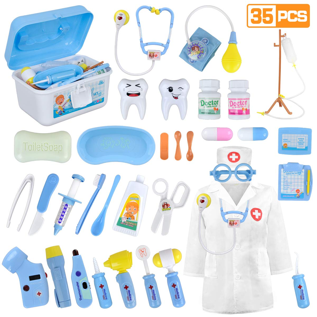 LOYO Medical Kit for Kids - 35 Pieces Doctor Pretend Play Equipment, Dentist Kit for Kids, Doctor Play Set with Case by LOYO