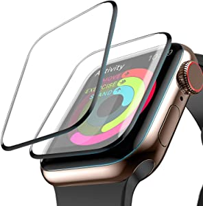 Screen Protector for Apple Watch 44mm Max Coverage - Scratch Resistant 3D Screen Tempered Glass for Apple Watch Edition Series 5 44mm /Apple Watch Series 5 Aluminum 44mm / Apple Watch Seri