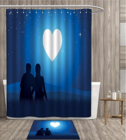 Sunsunshine Romantic Shower Curtain 3D Digital Printing Silhouette Of A Couple Sitting In Front Heart
