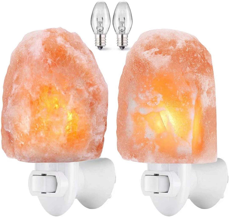 2pk Himalayan Salt Lamp Night Light Natural Pink Crystal Air Purifier Rock Bulb