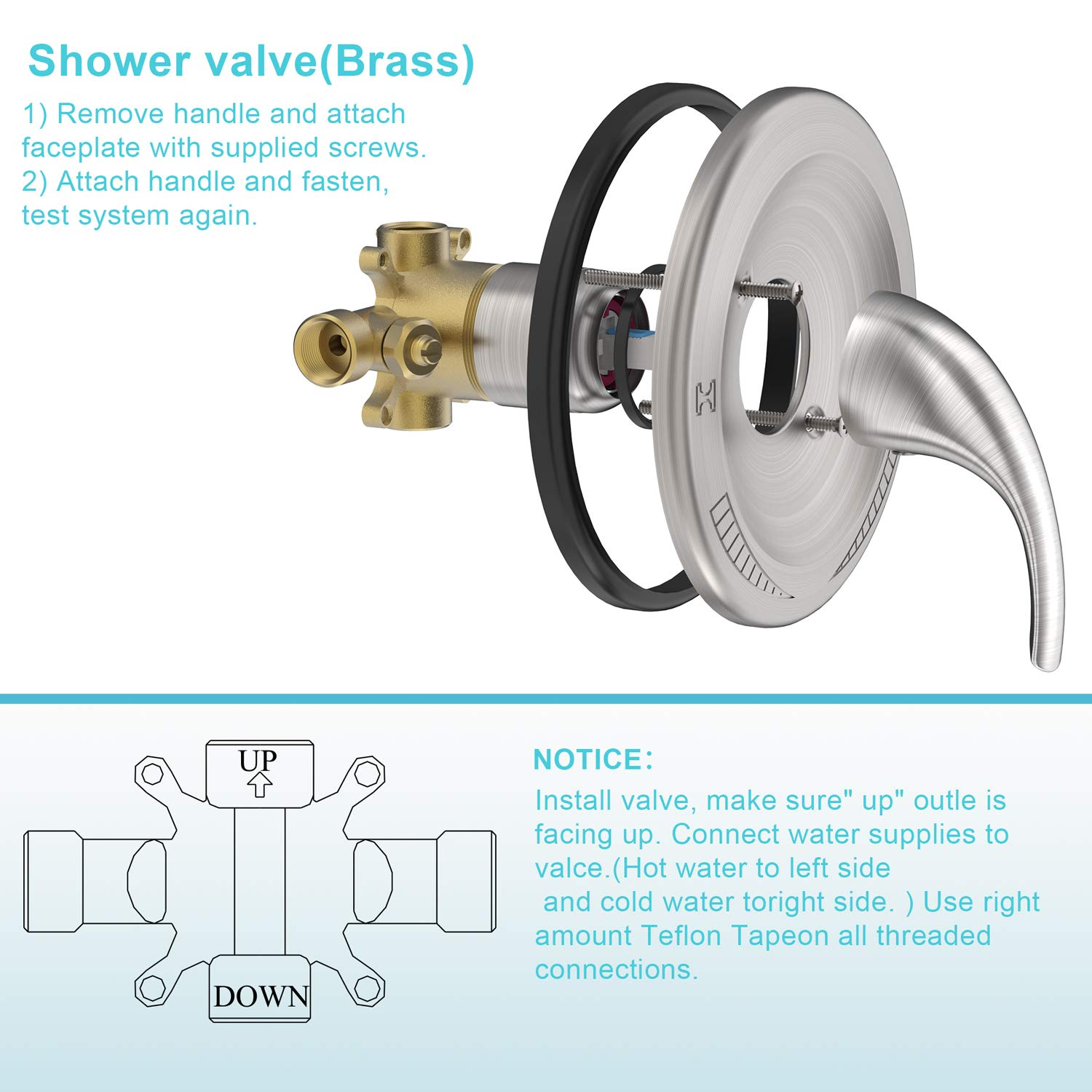 Valve Included Brushed Nickel SunCleanse ZDQ-SF-008N Single-Function Tub and Shower Trim Kit with 3-Spray Function Touch-Clean Shower Head