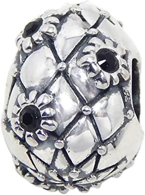 ICYROSE Solid 925 Sterling Silver Clear Crystal Barrel with Butterfly Cutouts Charm Bead 561 for European Snake Chain Bracelets
