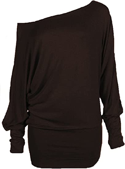 HOT HANGER Womens Batwing Tunic Top Long Sleeve Off Shoulder Plus Size 8-30