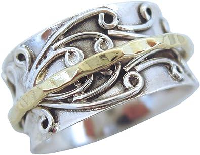 Energy Stone /« RADHA /» bague tournante de m/éditation avec rotateur en laiton sur une bague de base en argent sterling /à motif floral 3D Style UK05