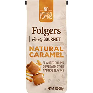Folgers Simply Gourmet Flavored Ground Coffee with Other Natural Flavors, Caramel, 10 Ounce, Packaging May Vary