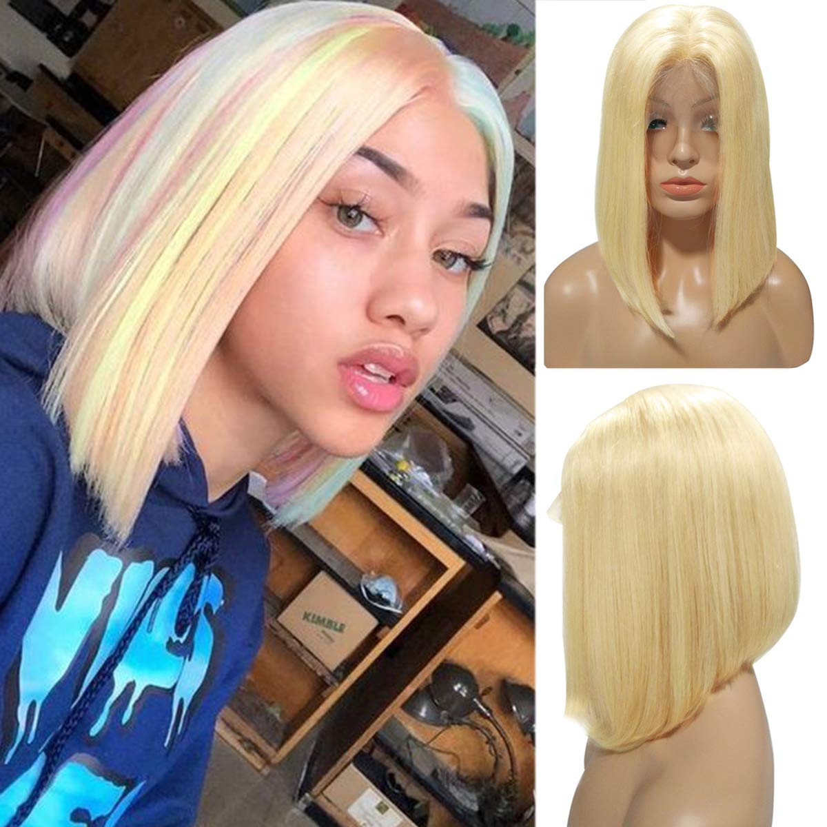 Licoville 613 Blonde Bob Lace Front Human Hair Wigs Pre Plucked 12'' Middle Part Straight Sleek Blond Bob Lace Wig 180% Density 13×4 Frontal Wig for Women(Can be Styled)