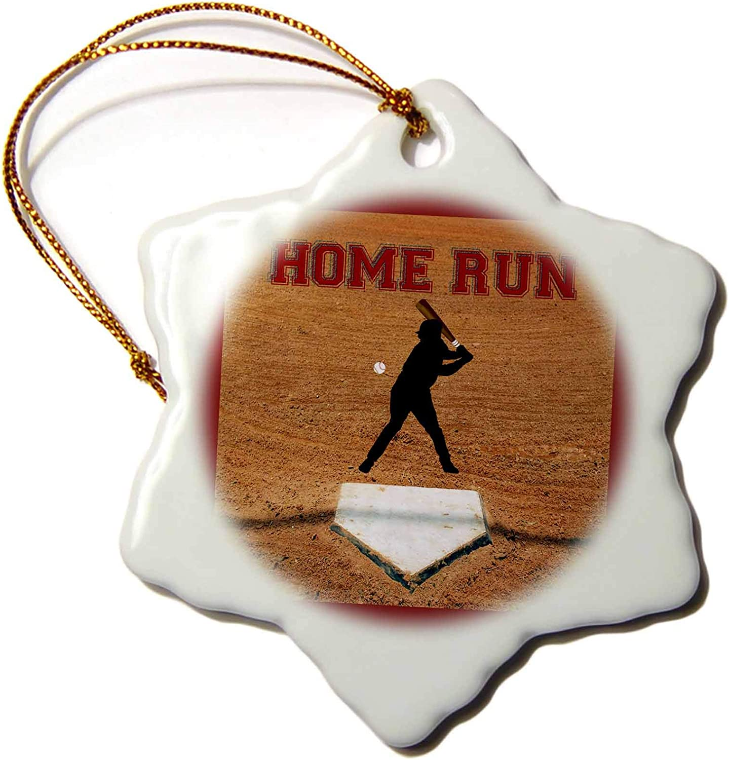 3dRose Baseball Batter at First Plate, Home Run, Red - Ornaments (ORN_211484_1)