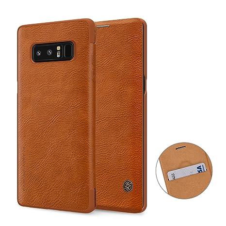 Nillkin Samsung Note 8 Funda, Premium PU Funda Protectora de Cuero con Funda para Tarjeta Samsung Galaxy Note 8, marrón