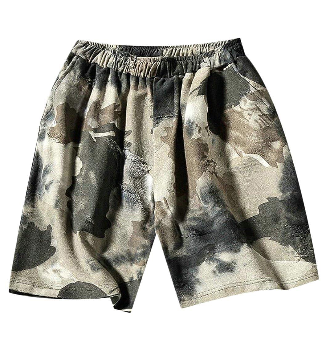 Hmarkt Mens Camouflage Active Swimming Distressed Board Drawstring Beach Shorts