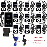 EXMAX ATG-100T 72-76MHz Wireless Tour Guide Monitoring System Microphone Earphone Headset for Church Simultaneous Interpreting Teaching Conference Travel Interpretation(1 Transmitter 10 Receivers)
