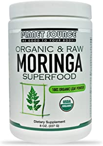 Planet Source 100% Raw & Pure Organic Moringa (Moringa oleifera) Powder superfood antioxidant, Promotes Healthy Blood Sugar 8 Oz
