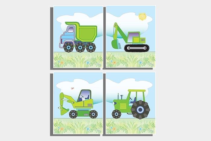Kids Green Tractor Wall Art Boy S Farm Nursery Room Pictures Dump Truck Digger Bulldozer Prints Construction