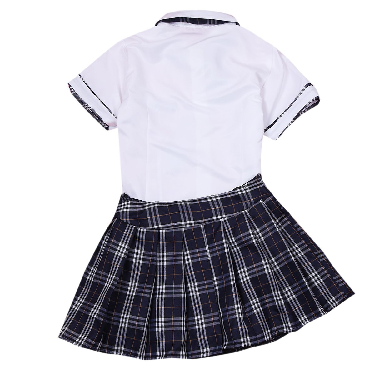 DRGE Pretty Fashion Girl JK Uniform Set Japanese Schoolgirl Uniform Skater White Shirt with High Waist Plaid Pleated Skirt Set,BAI MING,XS
