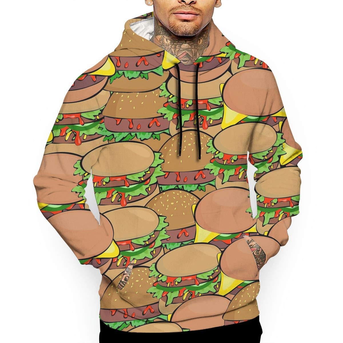 YUANSHAN Hamburger Mans Long Sleeve Hoodie Casual Pocket Hooded Sweatshirt