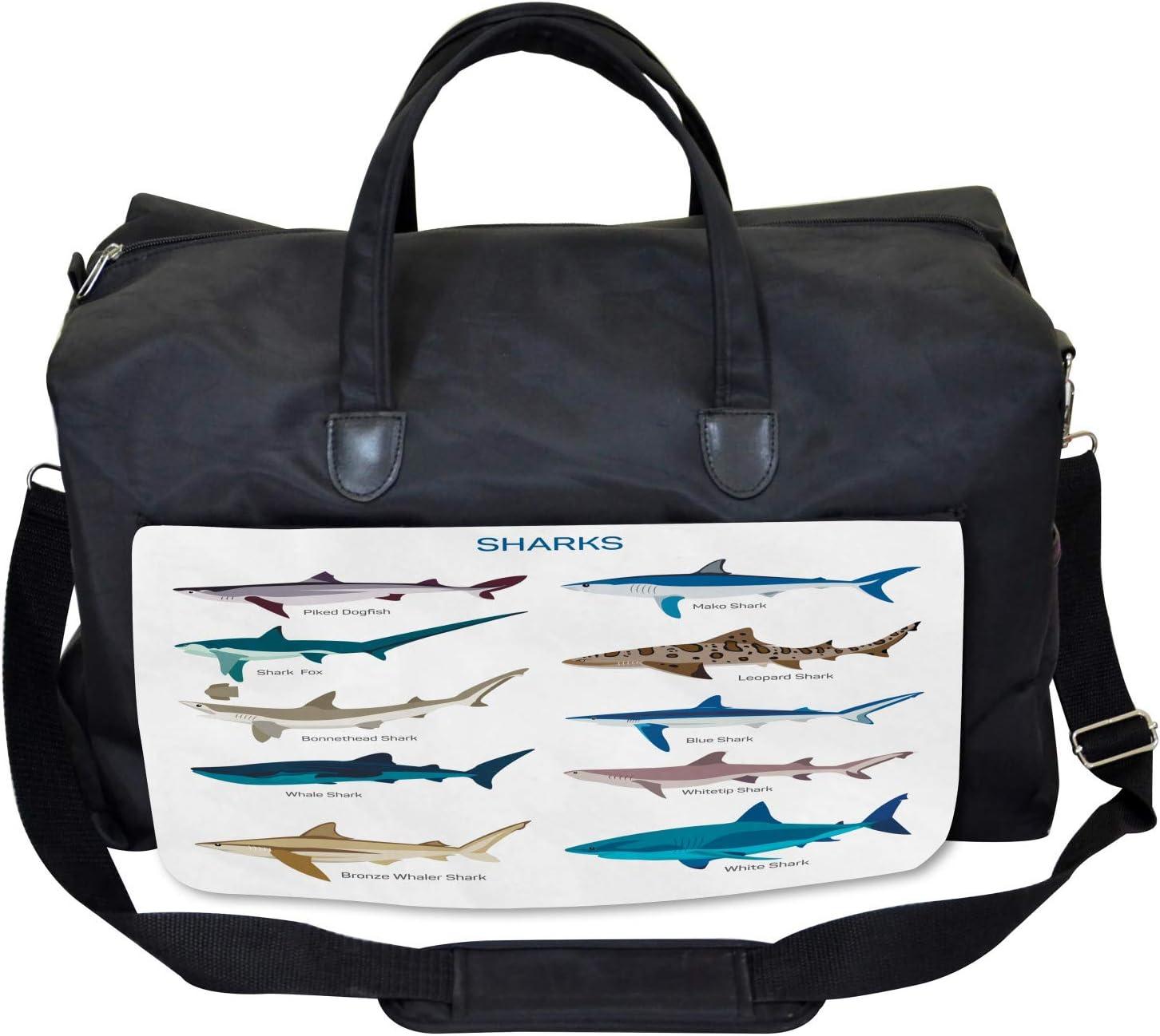 Cartoon Shark Types Wild Ambesonne Fish Gym Bag Large Weekender Carry-on