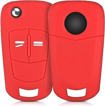 Kwmobile Autoschlüssel Hülle Kompatibel Mit Opel Vauxhall 2 Tasten Klappschlüssel Autoschlüssel Silikon Schutzhülle Schlüsselhülle Cover In Rot Auto