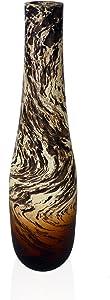 roro 14 Inch Handmade Tear-Drop Mango Wood Vase with Oil Swirl Stain