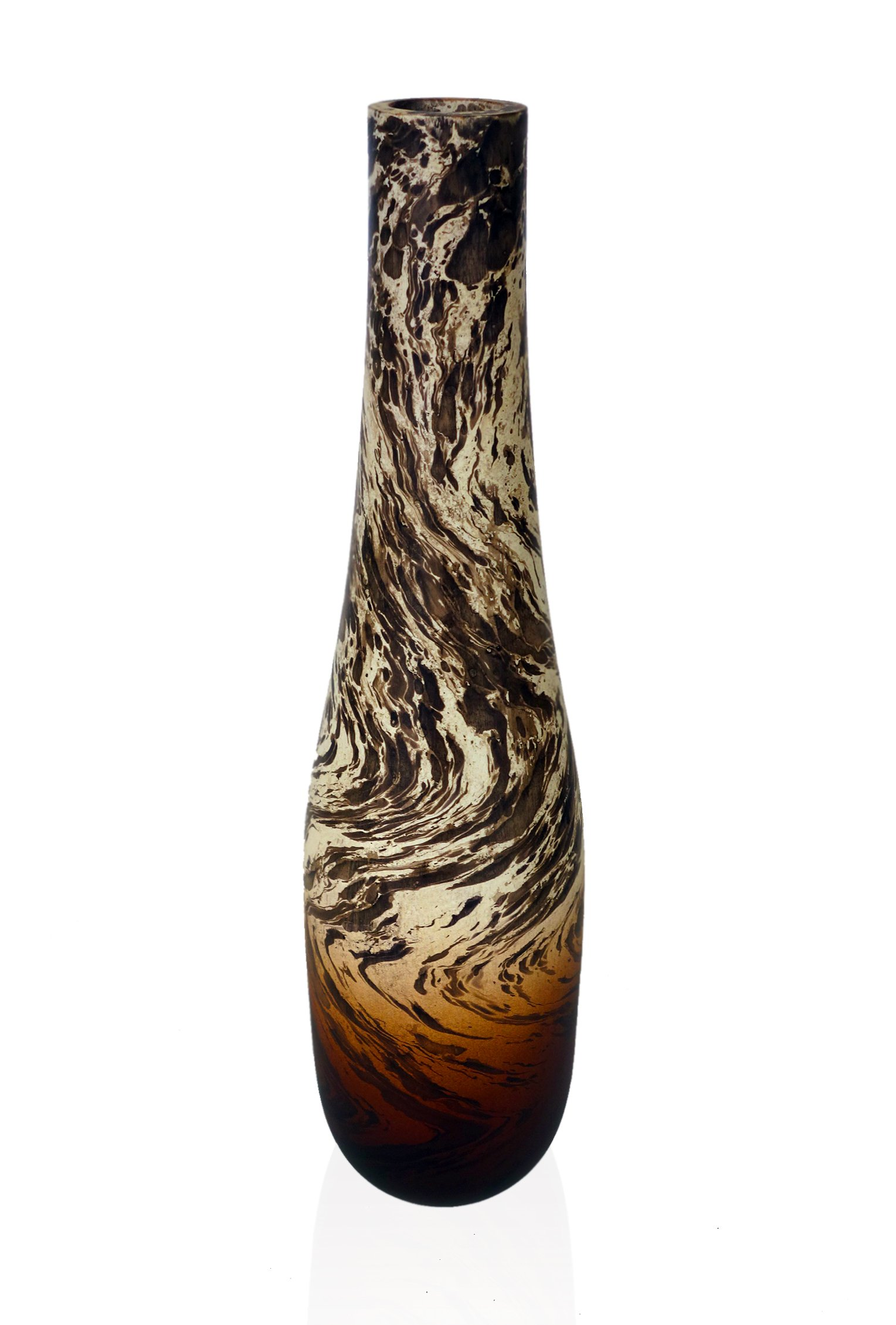 RoRo 14 Inch Handmade Tear-Drop Mango Wood Vase with Oil Swirl Stain