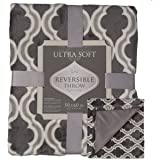 Crestwood Printed Soft Plush Cozy Luxe Fleece 50 x 60 Large Reversible Throw Blanket For Couch Sofa Bed, Charcoal Gray