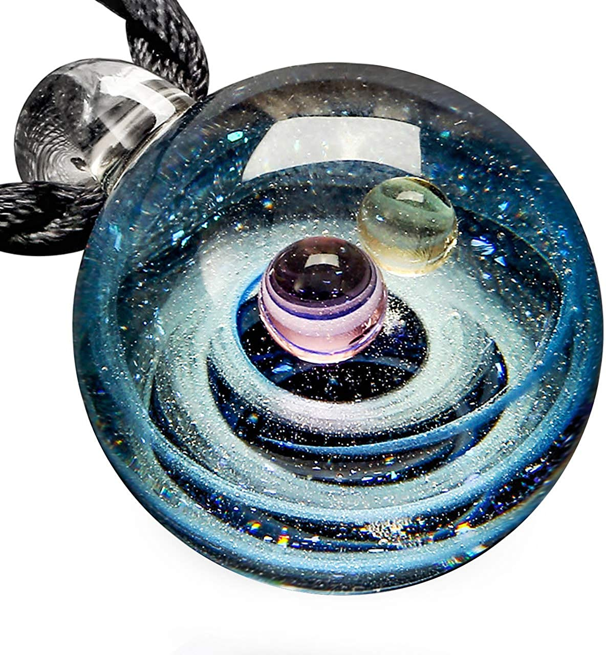 Dreamy Crystal Ball Star Short Glass Galaxy Pattern Pendant Necklace Jewelry HGU