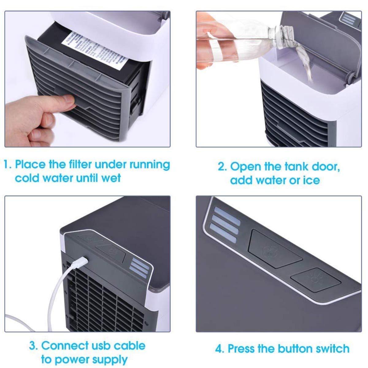 3 en 1 Ventilador Purificador Humidificador 3 Velocidades Ajustable para Hogar Oficina Coche QFUN Mini Aire Acondicionado Port/átil Enfriador USB