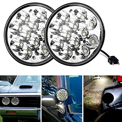 "Round Led Headlights 5.75"" 5-3/4"" 36W H5001 Par46 Fit for Unity Spotlight Truck Led Flood Work Light Replacement Sealed Beam Projector Chrome Offroad Tractor- Pair: Automotive"