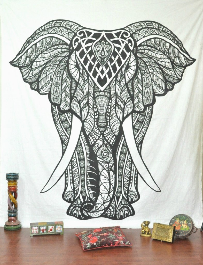 amazon com queen black and white elephant tapestry wall hanging