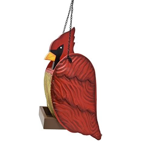 Bird Feeder Cardinal Shaped Cute Wild Birds Feeders Wood And Metal Hanging Birdfeeder For Outdoor Garden Yard Wildlife Hummingbird Bluebird Cardinals