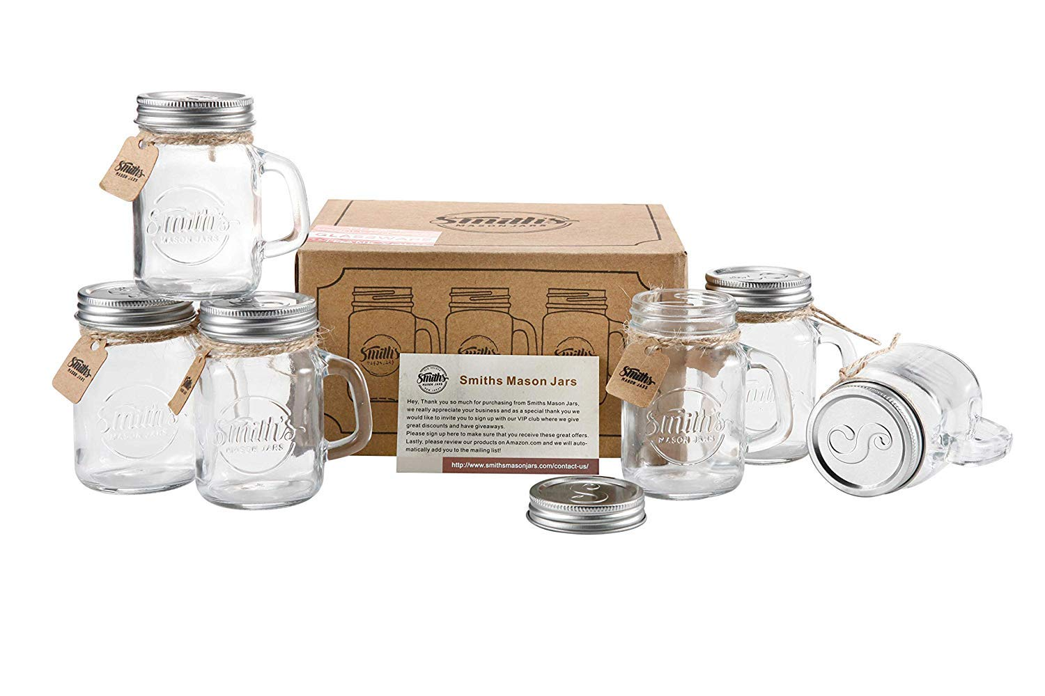 Smiths Mason Jars Mini Mason Jar Shot Glasses Set Of 6 Shot Glasses 120 Ml Each Great For Food Storage Canning Shot Glasses And With A Great Gift