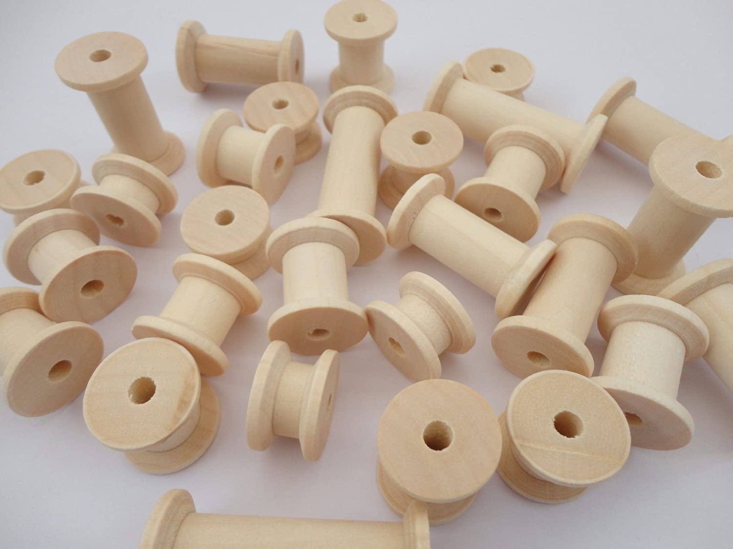 60 Natural Wooden Spools Wood Bobbins Craft Sewing Threading Puppet Toy Wheels a2bsales